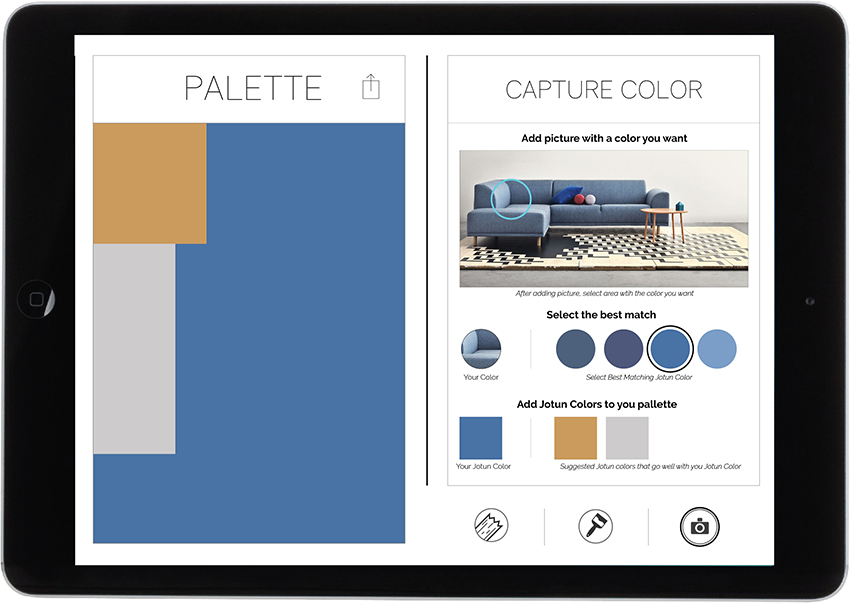 15. Suggestions on other colours that match appears that you can drag into the palette. When you are ready press the material icon