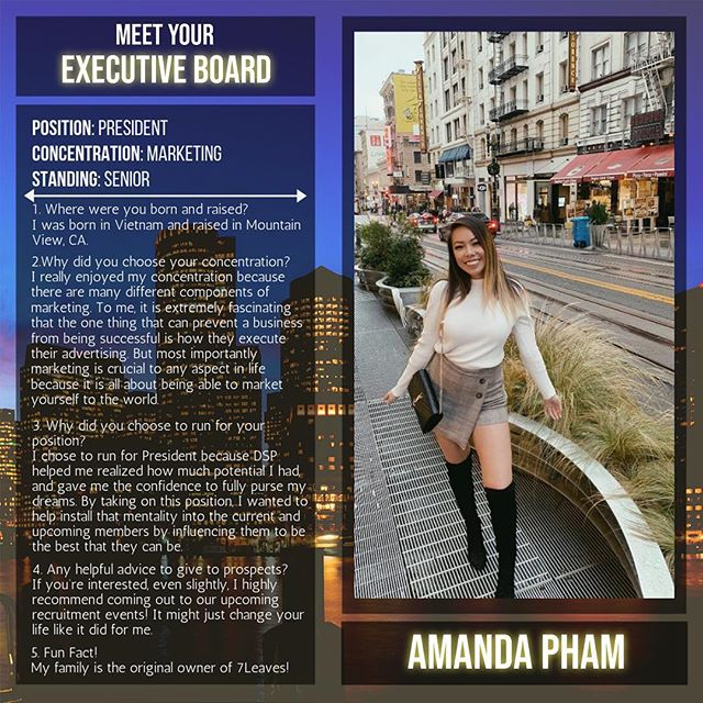 Meet your President, Amanda Pham! This is her second term as President! Keep up the great work! 💜💛