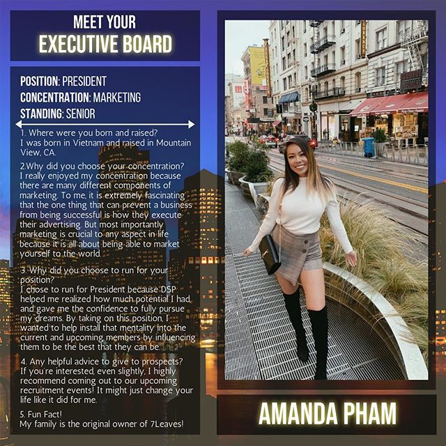 Meet your President, Amanda Pham! This is is her second term running! Keep up the great work 💛💜