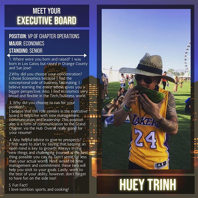 Today's executive board spotlight features your VP of Chapter Operations, Brother Huey Trinh from the FINESSE Pledge Class! He crossed Fall 2017!