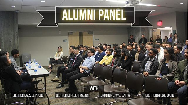 """Our last event was the Alumni Event! Thank you to Brother Daizzee Phung, Kurleigh Mason, Ujwal Battar, and Reggie Quero! Remember: """"Speak your greatness into existence."""" -Will Wang"""