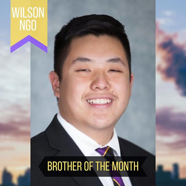 Shoutout to Brother Wilson Ngo on being Brother of the Month! He organized an event that allowed our chapter's alumni and collegiate members to connect again! Thank you for being a great mentor and your fraternal dedication never goes unnoticed! 💜💛