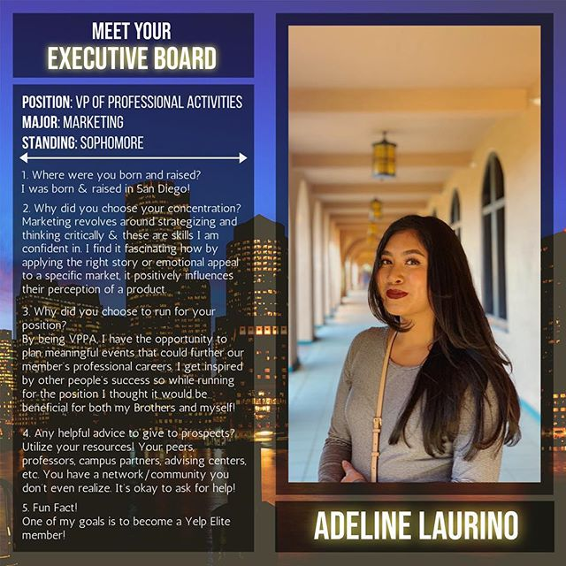 Meet your Vice President of Professional Activities, Adeline Laurino! Although she crossed Fall 2018, she has already planned 5 professional events for our Brothers! Keep up the great work Ade!