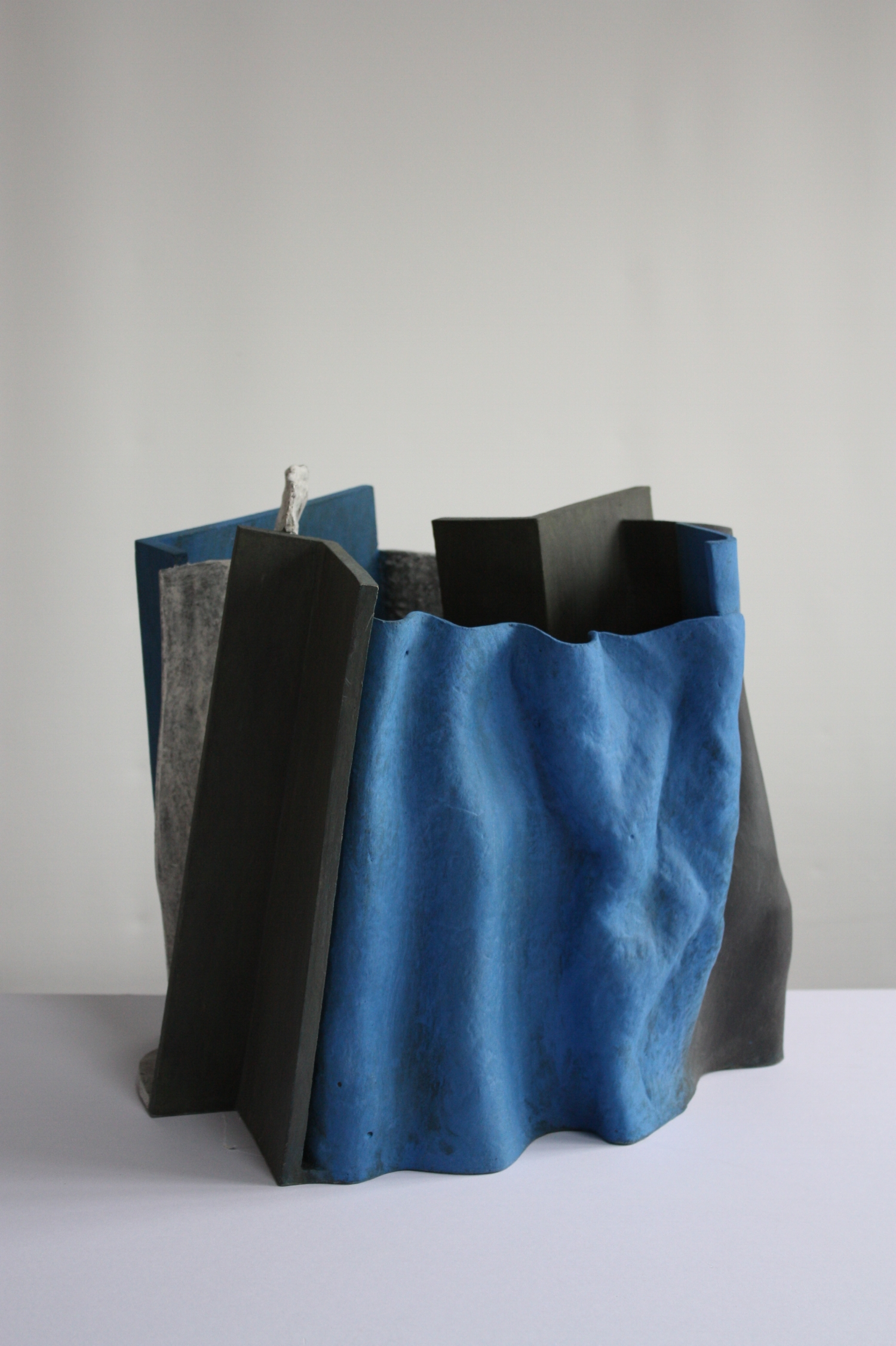 Folded blue, 2011, 33cm high