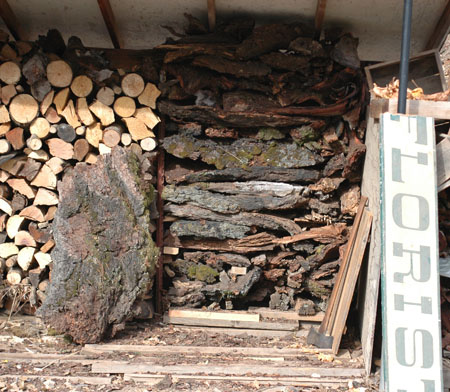 Happiness is a full woodshed, but this shed is less than full.  At least it's half full and not half empty this year!  It does have a nice stack of fat slabs of fir bark for lime burning projects!  This bark is from 60 year old stumps, still solid and dense with a high fuel value.  I like the florist sighn with half the F eaten off by a horse.  That's going to market this year.  Very country chic.