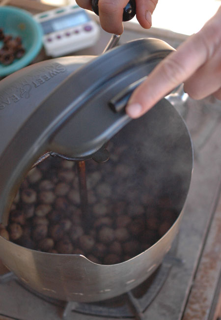 Roating bay nuts in a popcorn popper , my new preferred method until I invent and build a better roaster.