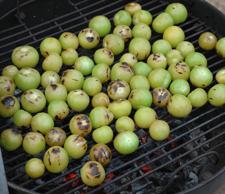 Tomatillos roasting for salsa.  Roasting really adds some great flavor!