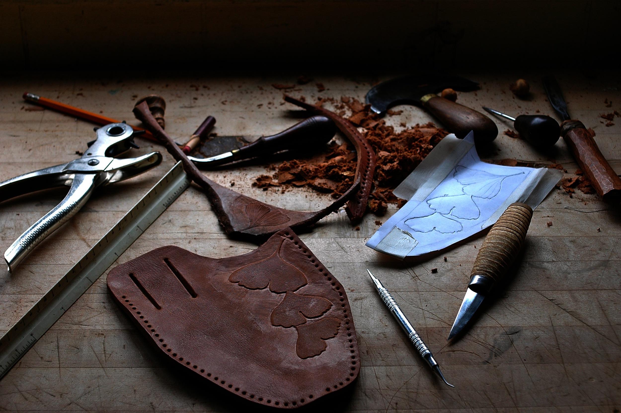 Bark tanned bull leather pruner sheath in progress.