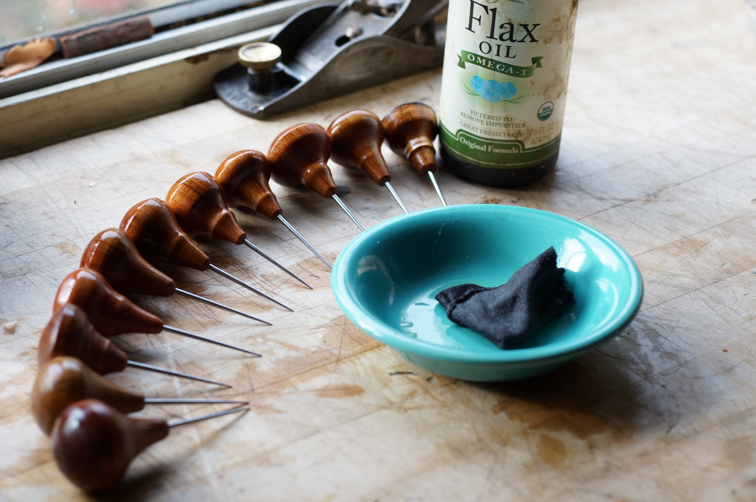 A new batch of leather working awls, getting an oil treatment.