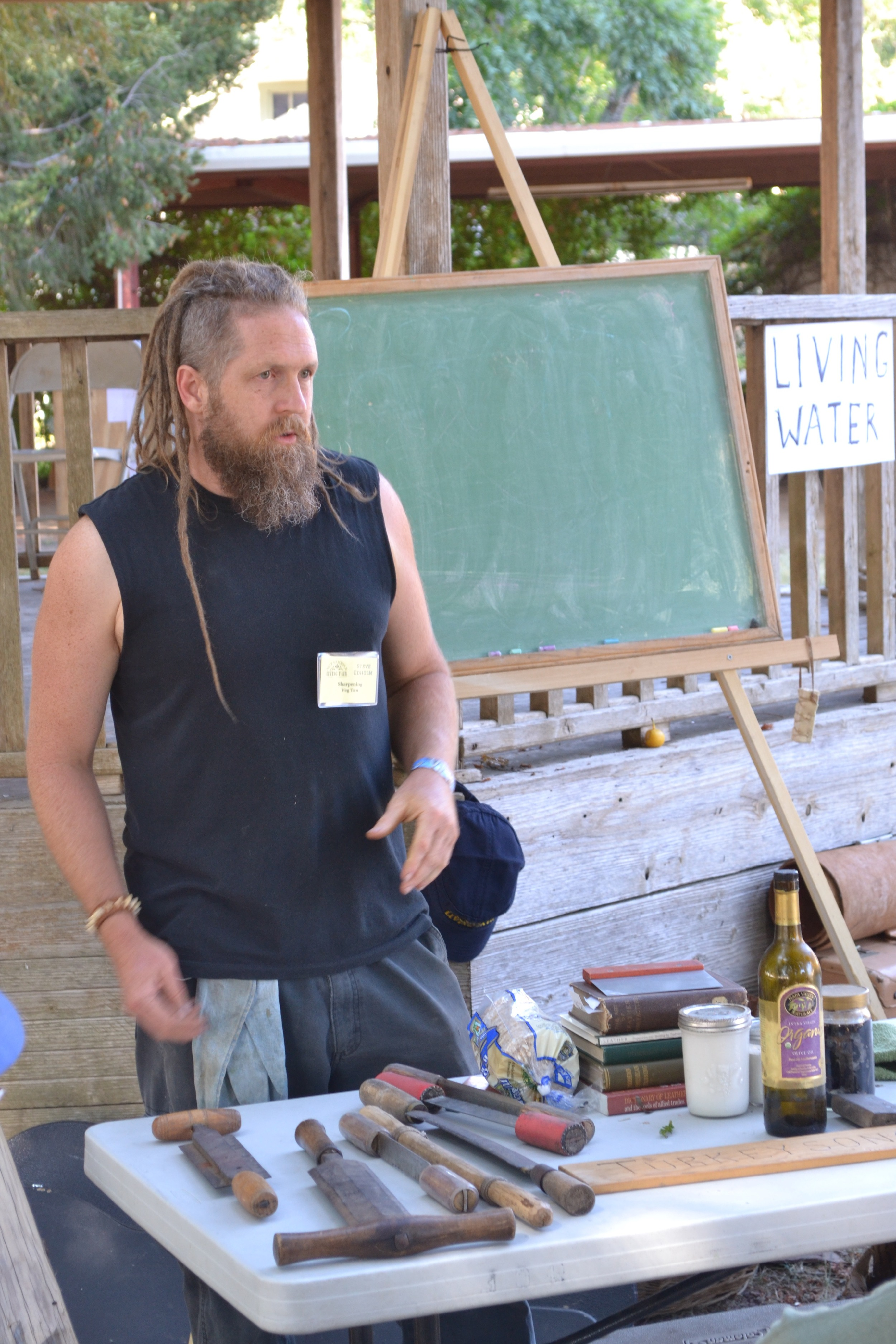 Teaching hide tanning stuff at the Not So Simple Living Fair in Boonville California. This fair is great, teaching skills for self reliance.