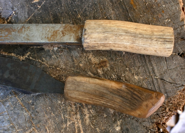 "Antler handles set while wet and boiling hot at least 1.5"" deep, deeper is better."