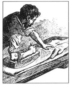 Old engraving of a Currier at work with an arm board. If you look closely, you can see that the artist illustrated the wooden teeth on the sole of the board