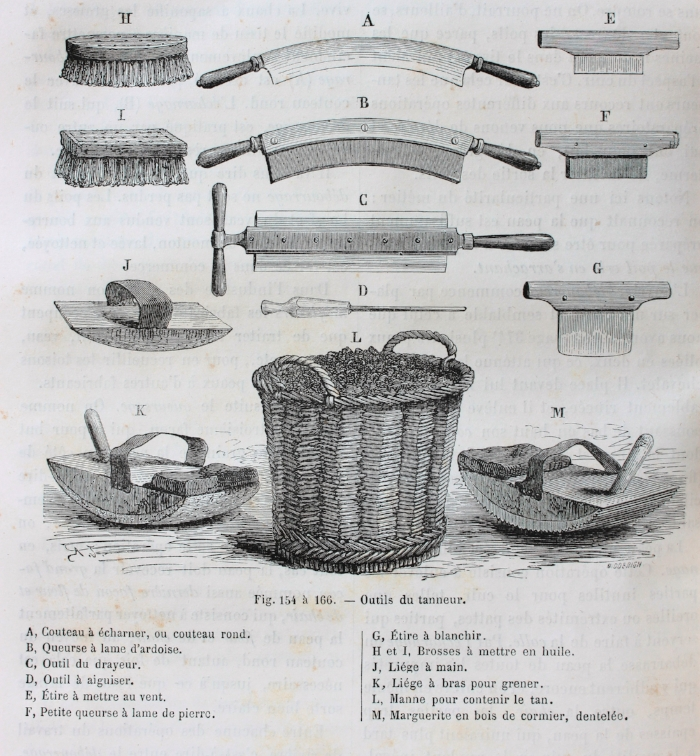 Some tools of the Tanner and Currier, most of which are discussed in this article. The slate bladed two handled knife B is especially intriguing. I need to make me one of them.
