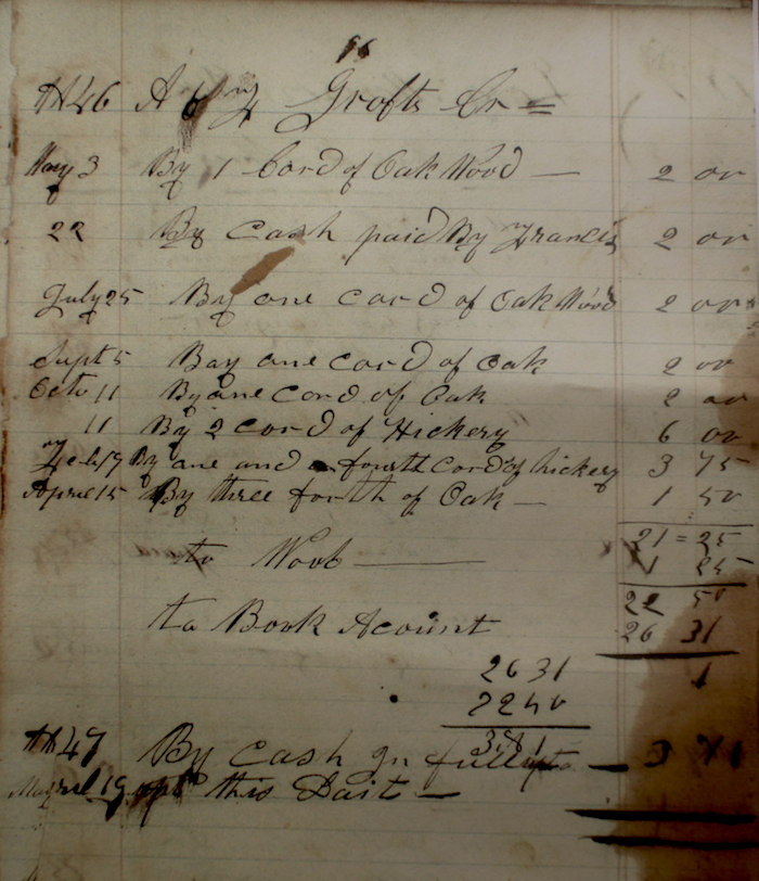 1847 firewood prices. About 100% of today? Oak was bought in at 2.00 a cord, but Hickory (which appears to be spelt Hickery) was 3.00 a cord. Likely at that time it was either bucked into long fireplace logs with an axe or saw, or bucked into shorter woodstove sized sections with a frame bucksaw. From the other entries in this ledger, you could calculate how many cords you would have to cut in order to buy some staple foods for winter, oats, corn and potatoes, and a pair of shoes.