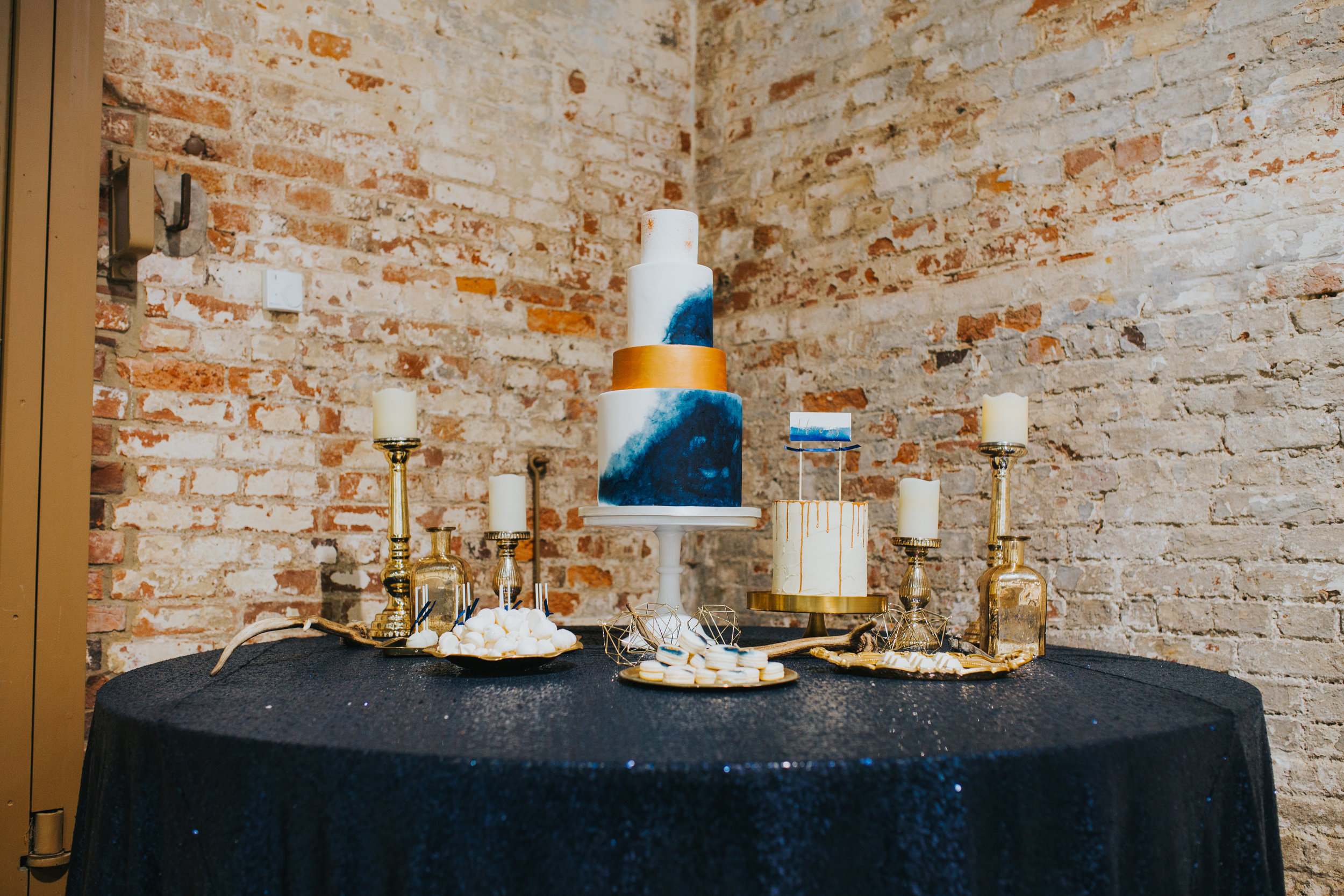 {Blue & Gold Wedding Cake Display} Creative & Unique Wedding Cakes | unique wedding cakes Nottingham