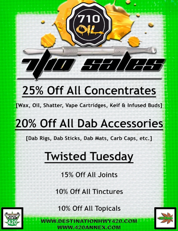 7/10 Dab Day is here. Visit us in east Bremerton this international dab day holiday and pick up some wax, oil, shatter, vape cartridges, keif, dab rigs, carb caps, RSO, Rosin, Torches, and more, all for super low prices!