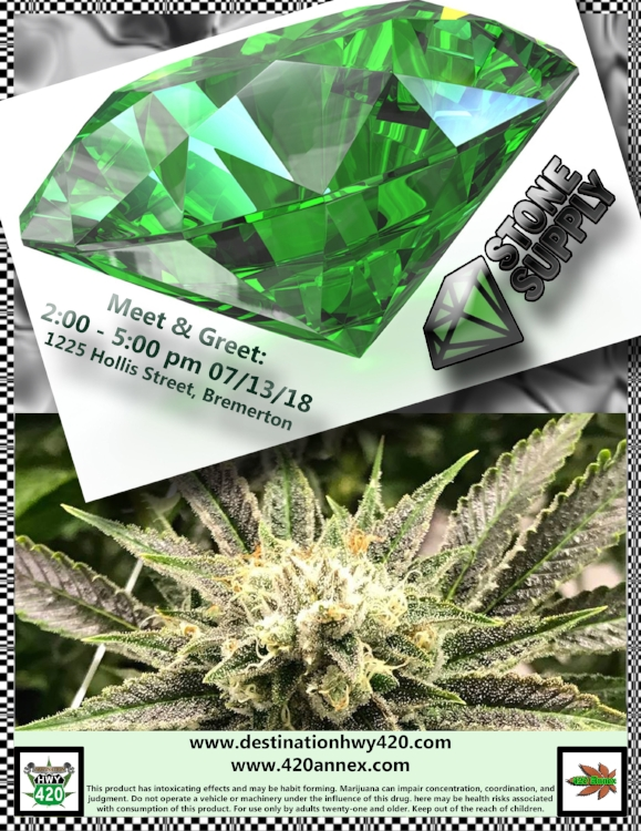 Stone Supply LLC Meet & Greet at Destination HWY 420 in east Bremerton. Stone Supply is a marijuana grower from Belfair, WA. Incredible gem quality cannabis products. Indica, sativa, hybrid, flower, Joints, and oils. Available for medical marijuana recognition card holders and recreational marijuana users 21+.