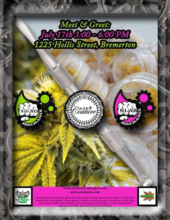 The Slab Mechanix team will be visiting Destination HWY 420 in east Bremerton on 07/17/18! If you're a cannabis connoisseur, Slab Mechanix is a must try. Their product line ranges from Cherry OG to 9 pound hammer, and exotic strains such as Couture Express 99, Slab Mechanix has you covered. Top shelf quality cannabis for affordable prices.