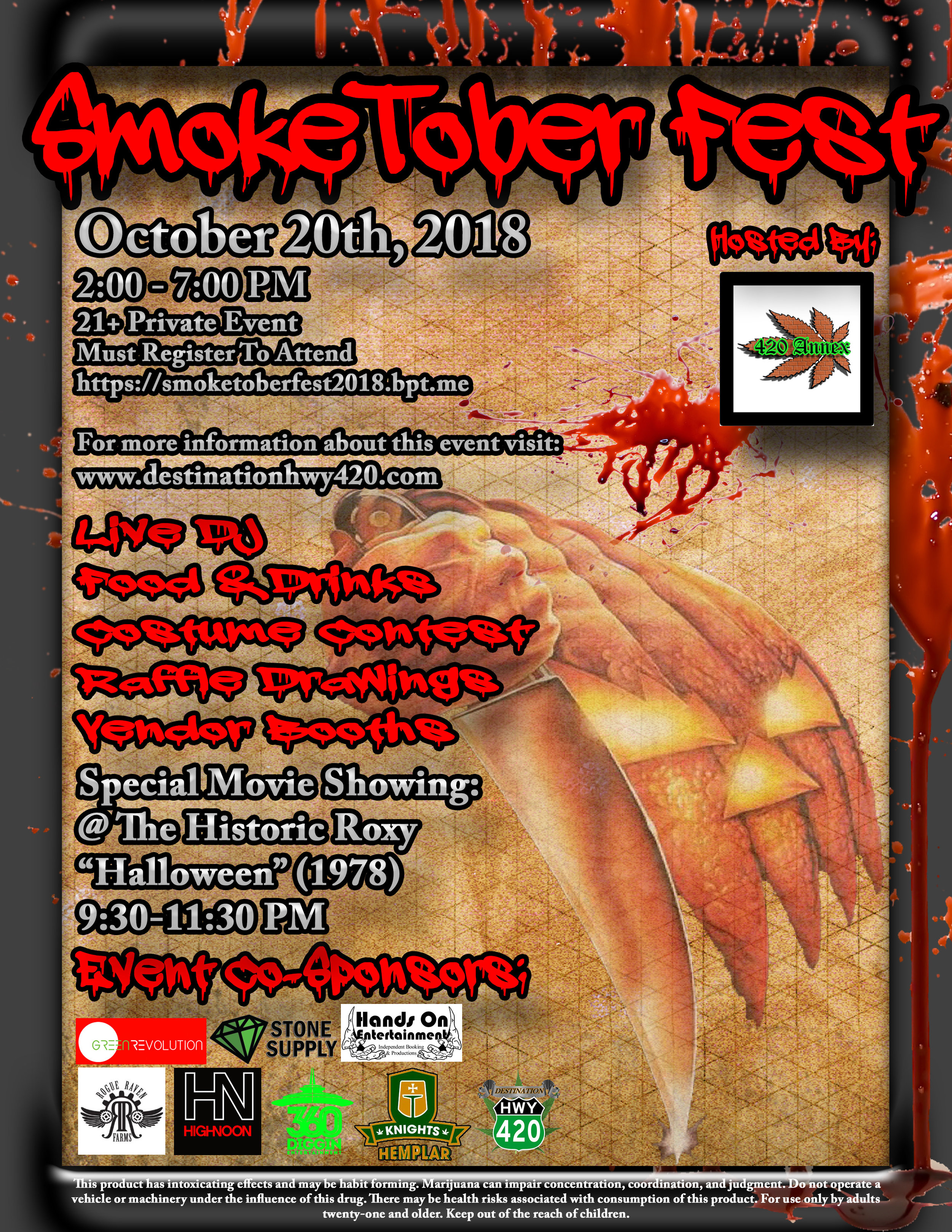 SmokeTober Fest:  Join the 420 Annex, Destination HWY 420, Stone Supply, High Noon, Pono Farms, Green Revolution, Rogue Raven, and well-known local entertainers at Bremerton's first ever SmokeTober Fest! Raffle Drawings, Giveaways, Live DJ, Entertainment, Food, Drinks, Costume Contest, Cannabis Vendor Booths, Discounts on Marijuana products, and more.