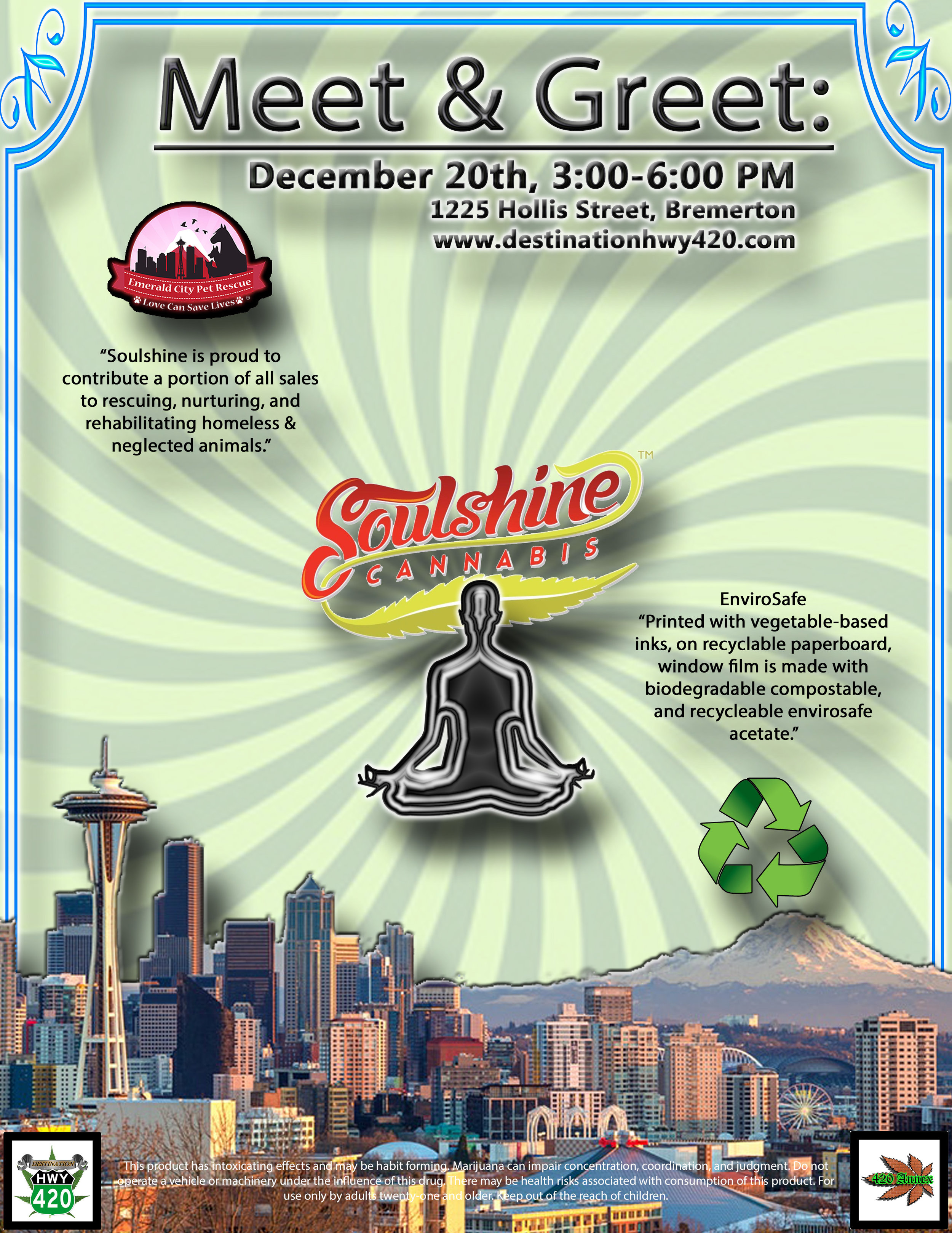 Soulshine Cannabis is an environmentally conscious top shelf marijuana producer/processor located in Renton, WA. Soulshine will be at Destination HWY 420 this Thursday for a Meet & Greet. Come on down and meet the Soulshine team and pick up some of their products for super low prices.