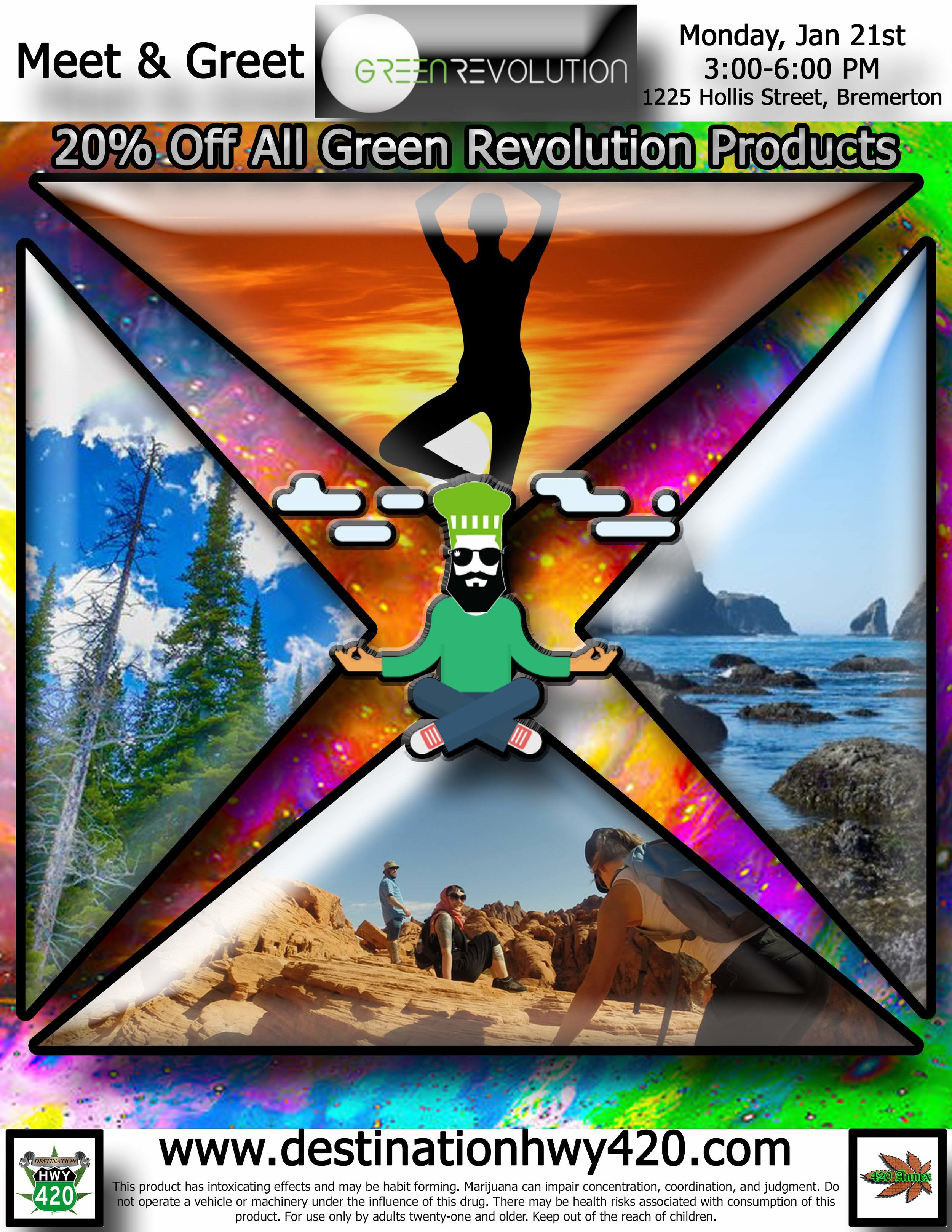 Green Revolution cannabis products are available at Destination HWY 420 in East Bremerton. The scientific precision practiced by this company is evident in their products. Each product comes with tons of helpful information such as dosage suggestions, expected effects, ingredients, and more.