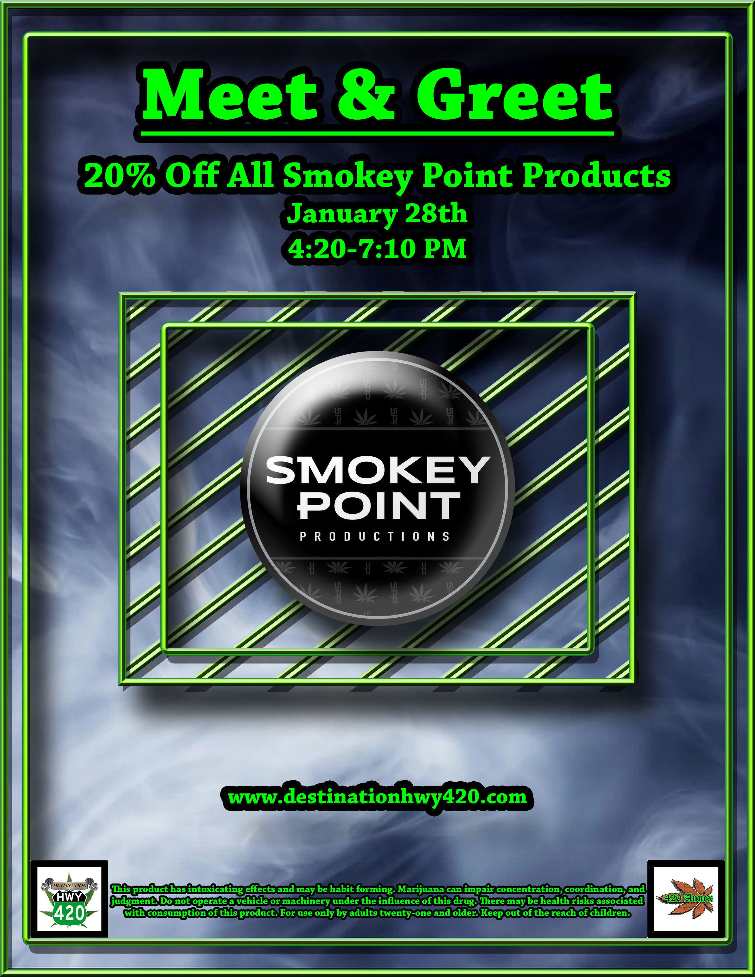 Smokey Point Productions, a marijuana producer/processor from Arlington, WA will be visiting Destination HWY 420 for a Meet & Greet. SPP offers amazing cannabis products for great prices, such as: Flower, Infused Prerolled Joints, Vape Cartridges, Concentrates, and Edibles. Come visit us in East Bremerton to learn more!