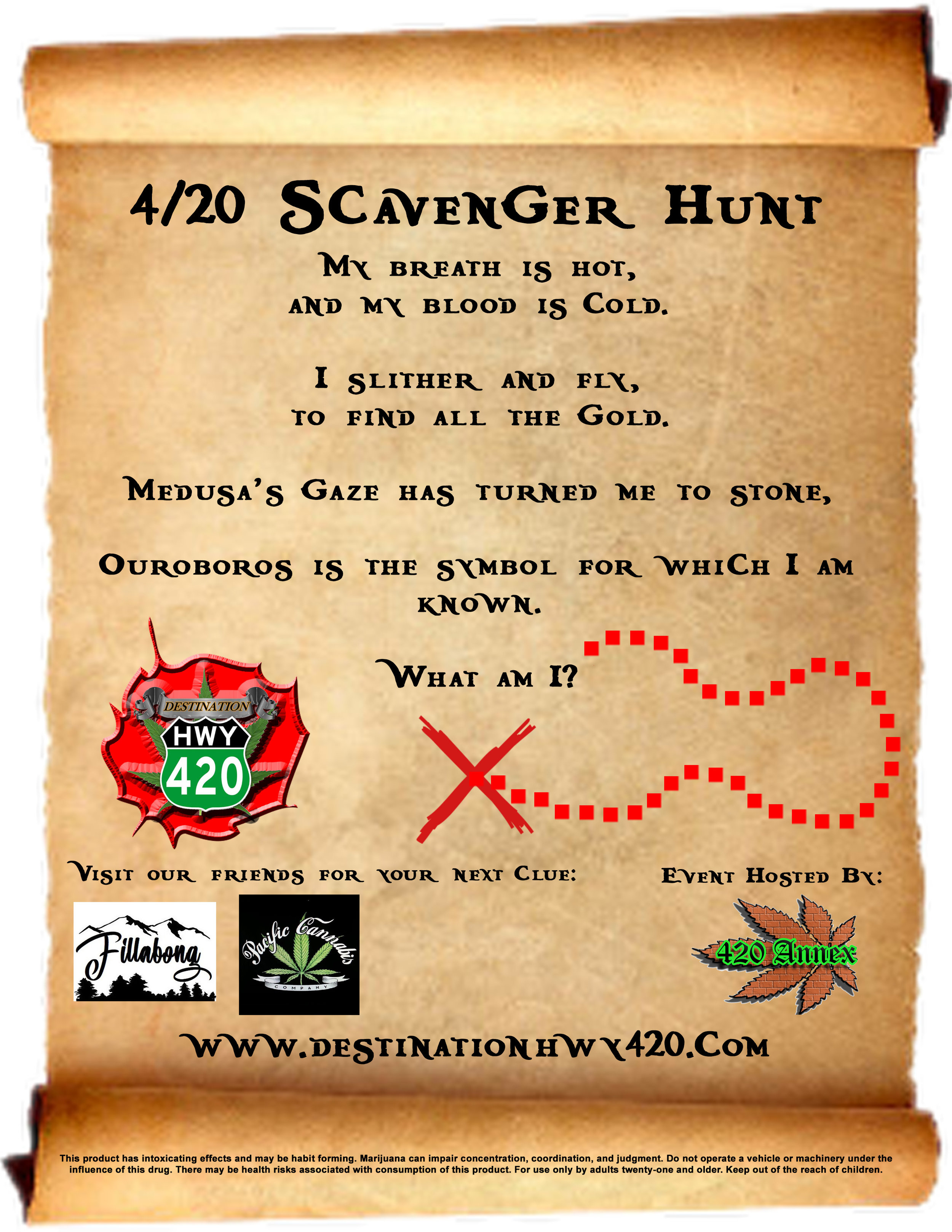 This is an example riddle from Destination HWY 420 for the 4/20 Scavenger Hunt. Fillabong Bremerton, Pacific Cannabis Company, and Destination HWY 420 are all participating in the 2019 4/20 Scavenger Hunt. To participate, stop by one of these marijuana retail stores, pick up a passport card, and solve each store's riddle. Once you've completed your passport card, bring it with you to the 4/20 Fair for a chance to win some incredible 420 Annex gift baskets!