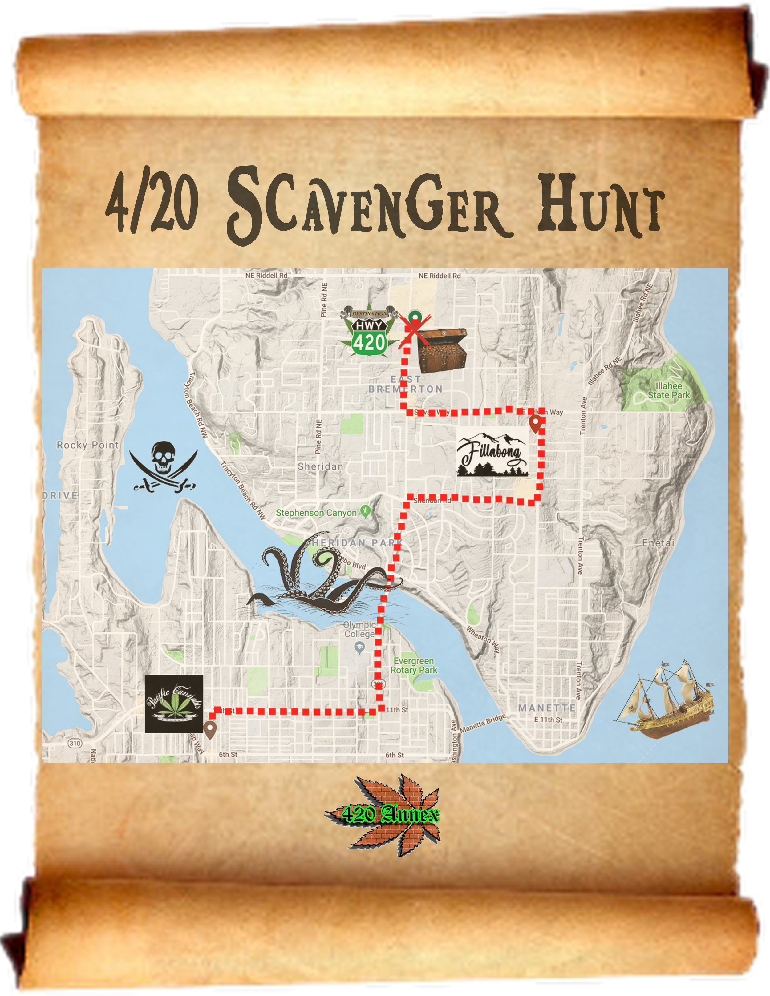 To participate in the Kitsap County 4/20 Scavenger Hunt, visit Filabong Bremerton, Pacific Cannabis Company, and Destination HWY 420, solve each stores' riddle, and find their mystery items, to be eligible to win some badass 420 Annex gift baskets!