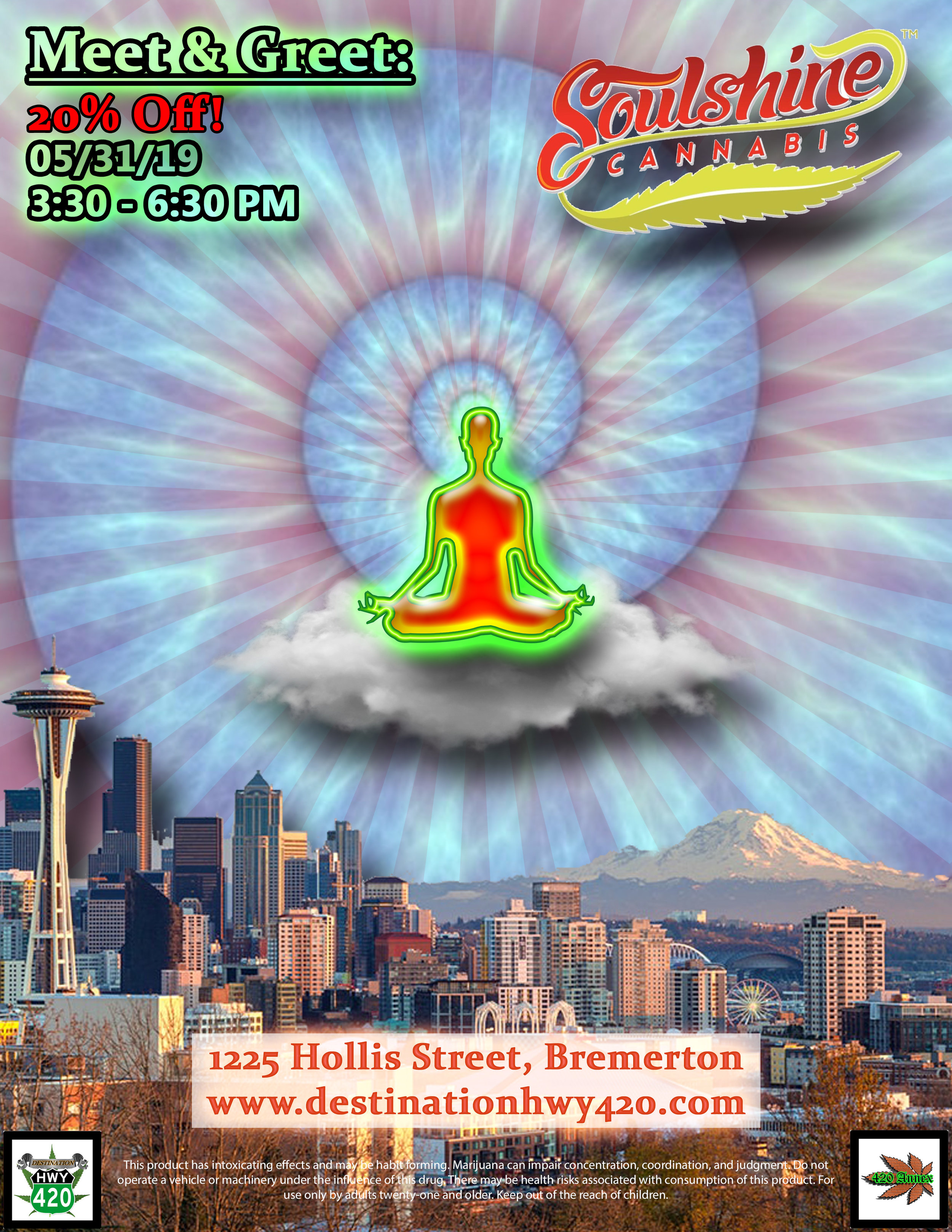 Soulshine Cannabis is an environmentally conscious top shelf marijuana producer/processor located in Renton, WA. Soulshine will be at Destination HWY 420 this Friday for a Meet & Greet. Come on down and meet the Soulshine team and pick up some of their products for super low prices.