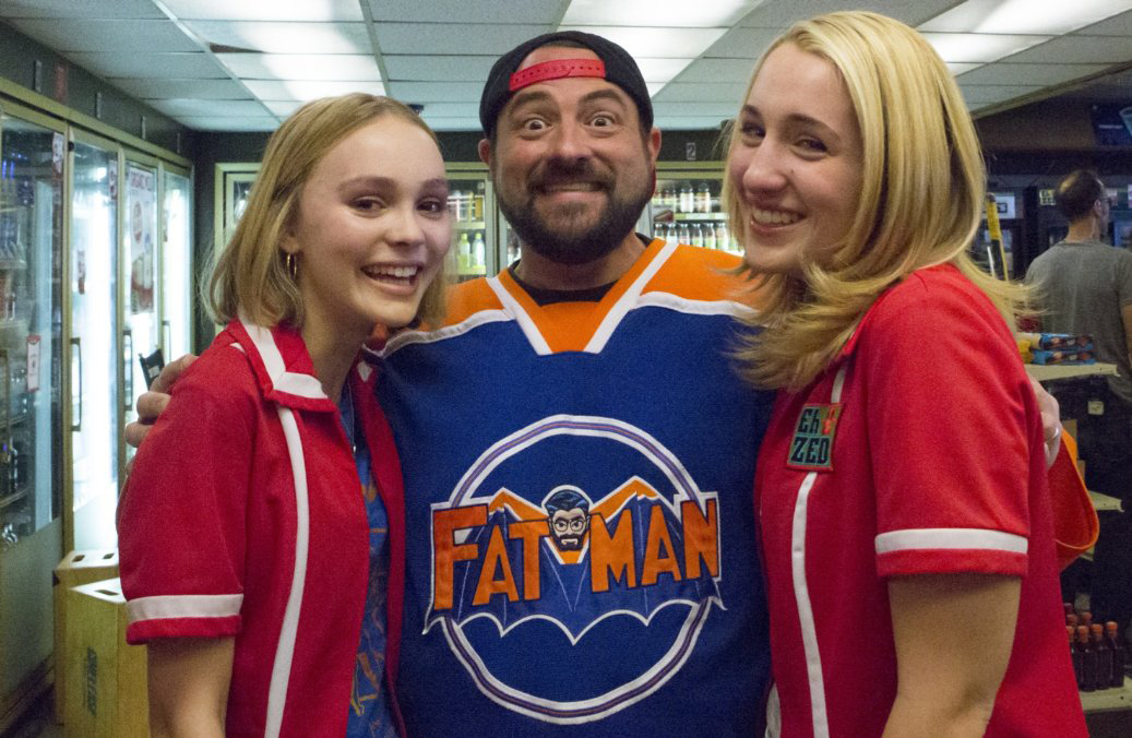Stars of  Yoga Hosers  with the writer/director Kevin Smith.