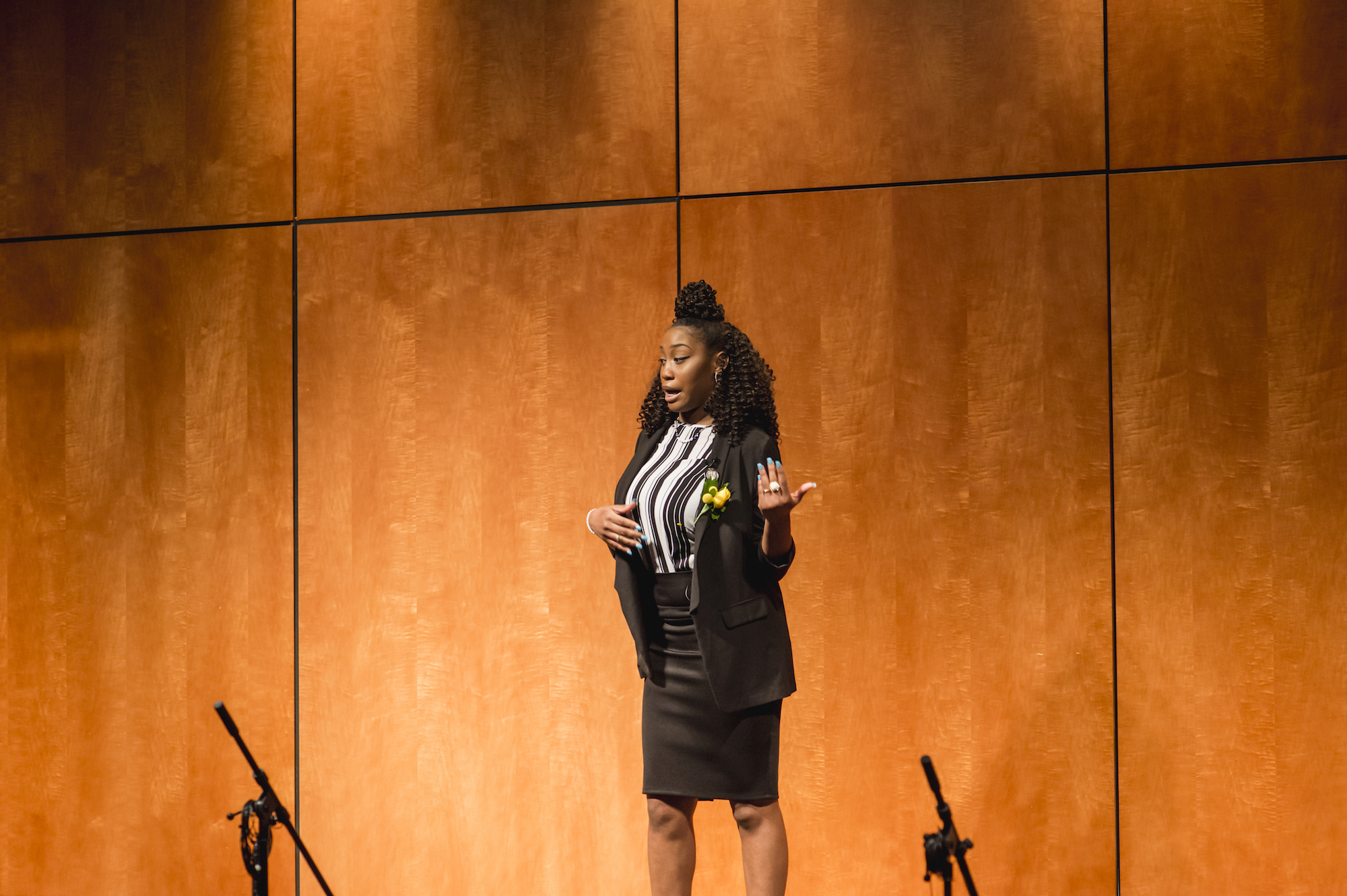 Rodesha delivering her speech at BGCMR LIVE! in April 2018.