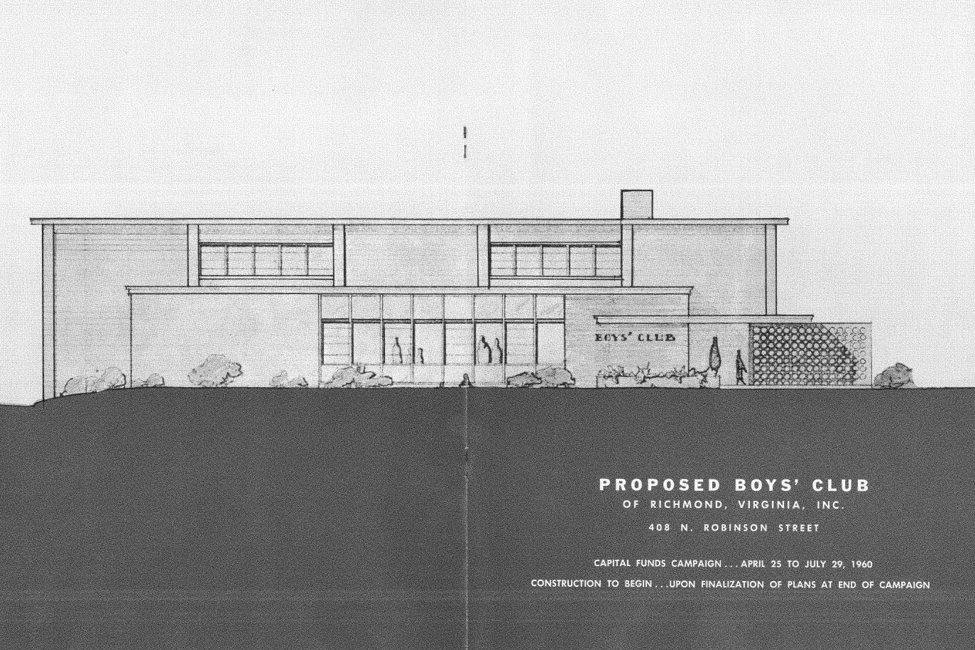 An early rendering of the Robinson Street Club, for its capital campaign.
