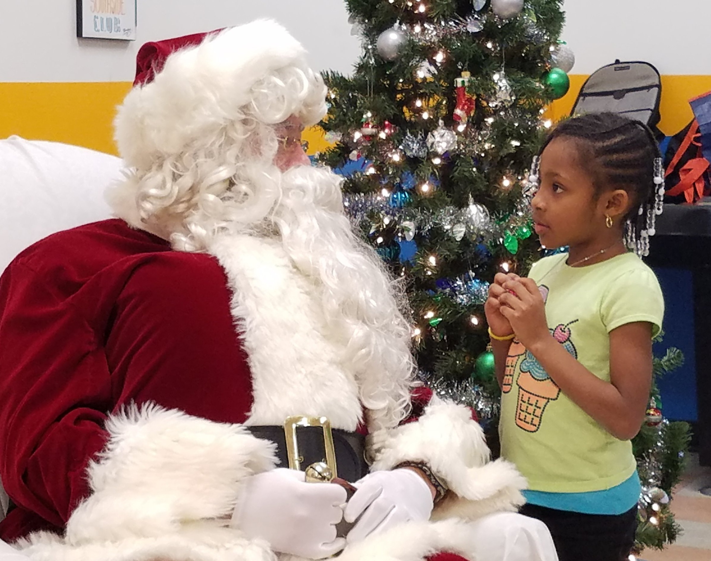 Santa and his friends from Wells Fargo hosted a holiday party at Southside