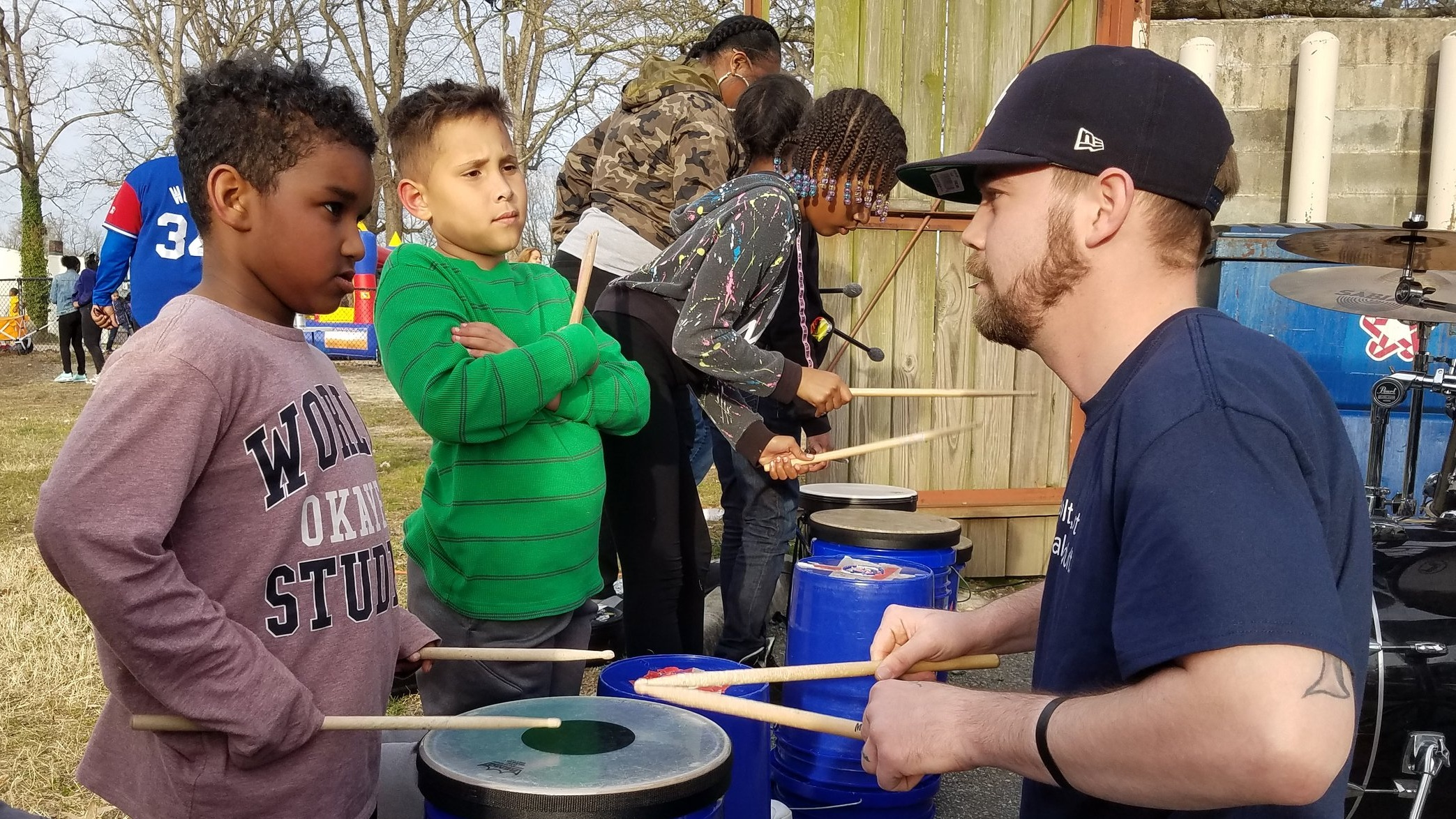 "Get Buckets recently ""jammed"" with a local band during Northside's Spring Break Kickoff event."