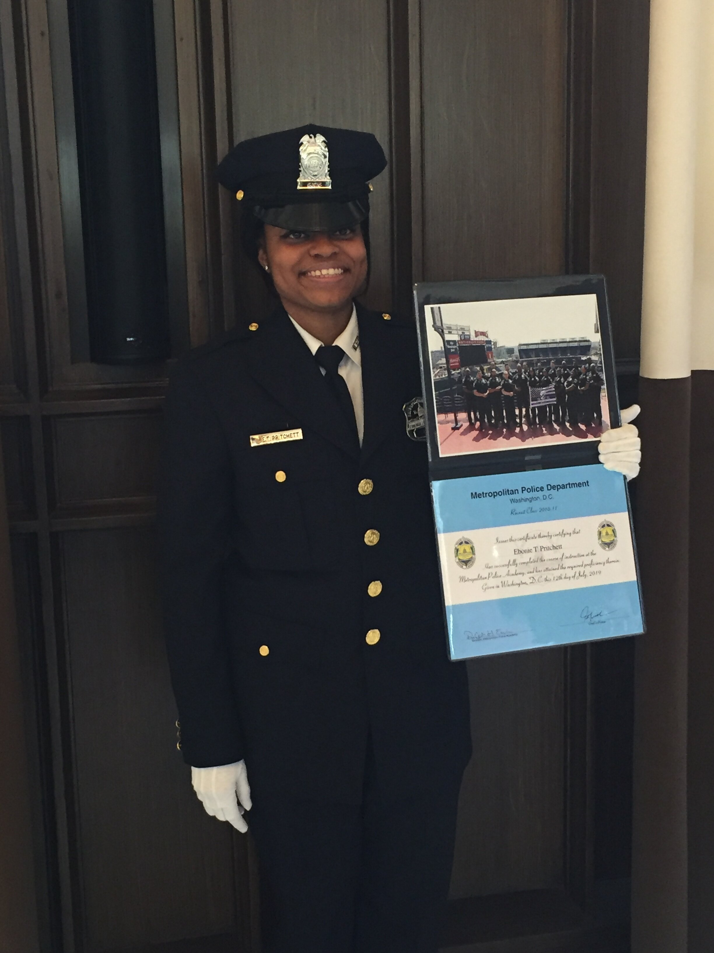 Former Club member Ebonie Pritchett is now employed as a police officer in Washington, D.C.