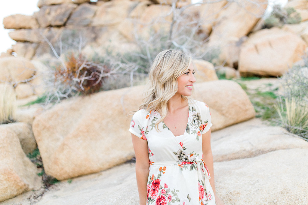 Joshua Tree Engagement Session | What to Wear for Pictures | Southern California Wedding Photographer | Mastin Labs Fuji Film | Fine Art Photographer | Desert Shoot | Dress for her florals.jpg