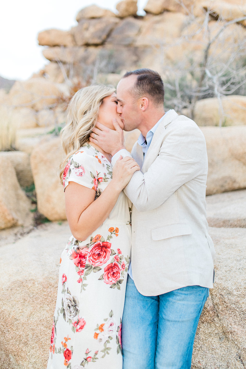Joshua Tree Engagement Session | What to Wear for Pictures | Southern California Wedding Photographer | Mastin Labs Fuji Film | Fine Art Photographer | Desert Shoot | Kissing.jpg