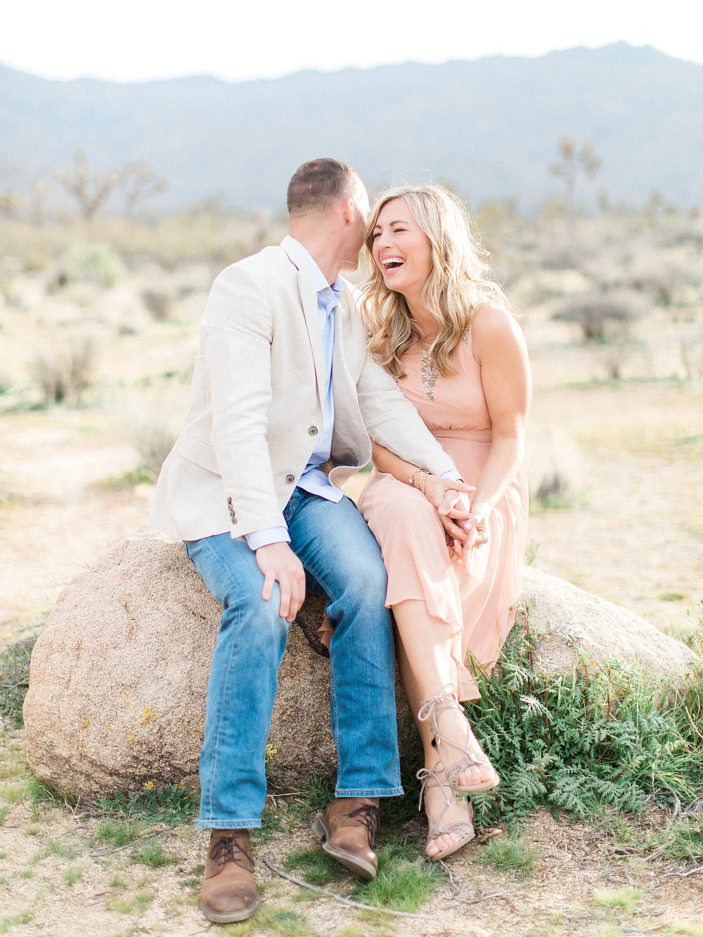 Joshua Tree Engagement Session | What to Wear for Pictures | Southern California Wedding Photographer | Mastin Labs Fuji Film | Fine Art Photographer | Desert Shoot | Laughing Shot.jpg