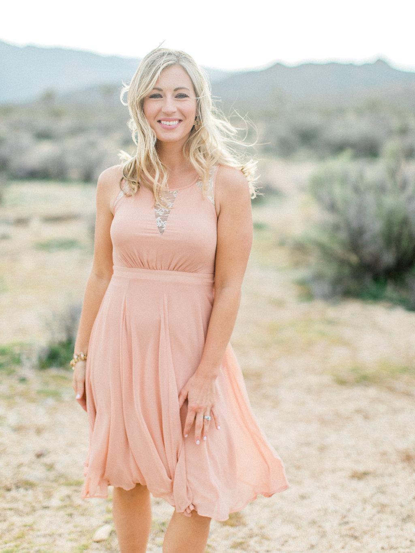 Joshua Tree Engagement Session | What to Wear for Pictures | Southern California Wedding Photographer | Mastin Labs Fuji Film | Fine Art Photographer | Desert Shoot | Peach Dress.jpg