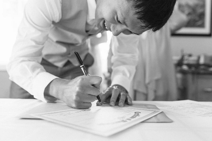 Intimate Backyard Blush Fairytale Wedding | Wenatchee Wedding Photographer | Fine Art Seattle Wedding Photographer | Blush Wedding | Wedding Details | Signing of Marriage Certificate