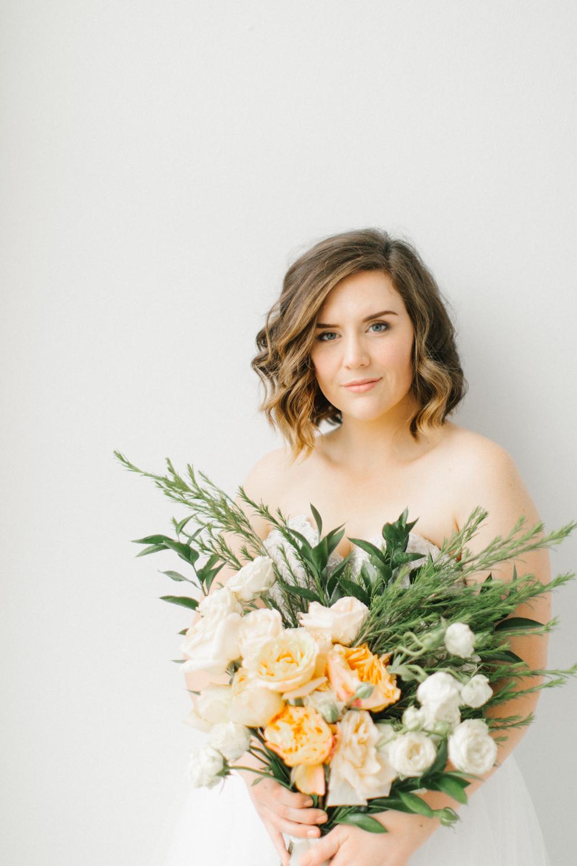 Seattle Fine Art Wedding Photographer | Seattle Downtown White Studio Bridal Session | Stunning Wedding Bouquet | Seattle Bride | Seattle Wedding | Photography Studio Space | Emma Rose Company Wedding Photography-16.jpg