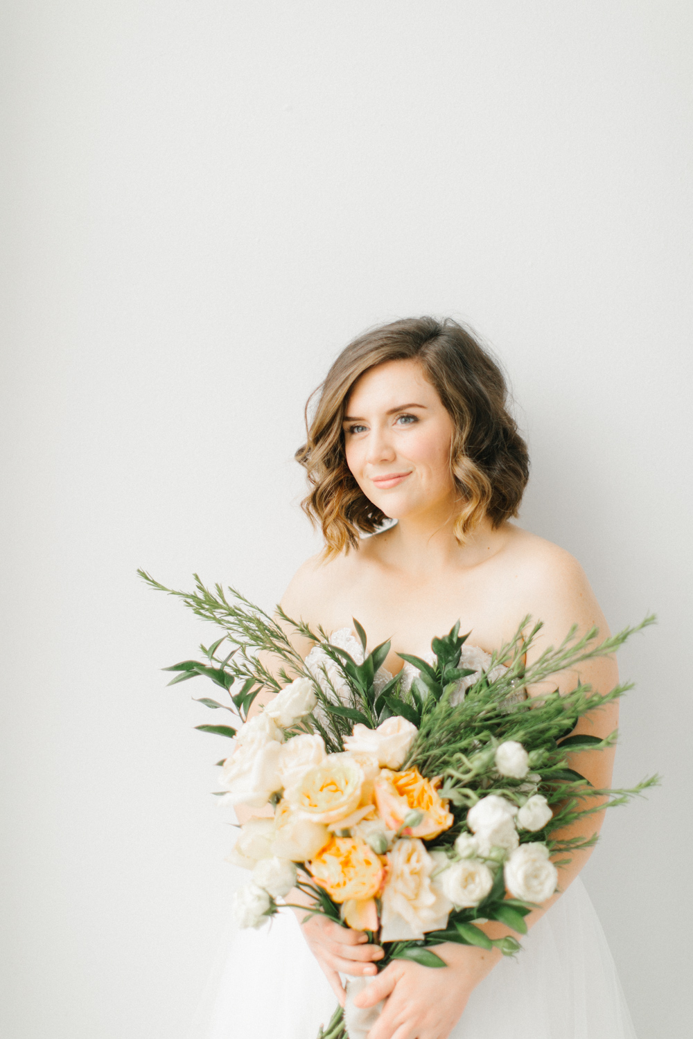 Seattle Fine Art Wedding Photographer | Seattle Downtown White Studio Bridal Session | Stunning Wedding Bouquet | Seattle Bride | Seattle Wedding | Photography Studio Space | Emma Rose Company Wedding Photography-17.jpg