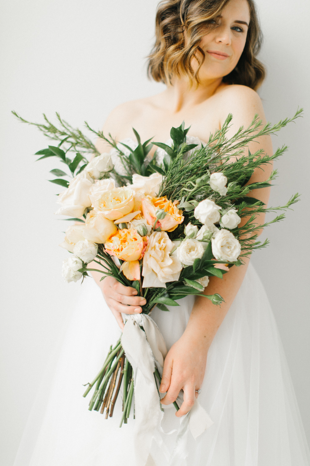 Seattle Fine Art Wedding Photographer | Seattle Downtown White Studio Bridal Session | Stunning Wedding Bouquet | Seattle Bride | Seattle Wedding | Photography Studio Space | Emma Rose Company Wedding Photography-19.jpg