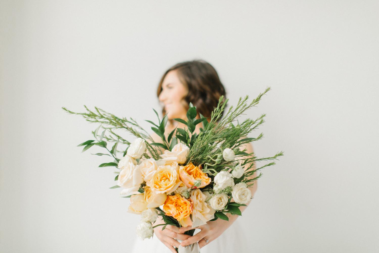 Seattle Fine Art Wedding Photographer | Seattle Downtown White Studio Bridal Session | Stunning Wedding Bouquet | Seattle Bride | Seattle Wedding | Photography Studio Space | Emma Rose Company Wedding Photography-23.jpg