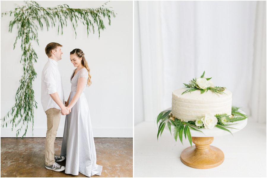 Studio Inspired Styled Shoot | Vintage Grey Inspired Shoot | VSCO | Rent The Runway | Wedding Bouquet with Mint | | Emma Rose Company | Pacific Northwest | Fern Wedding Cake.jpg