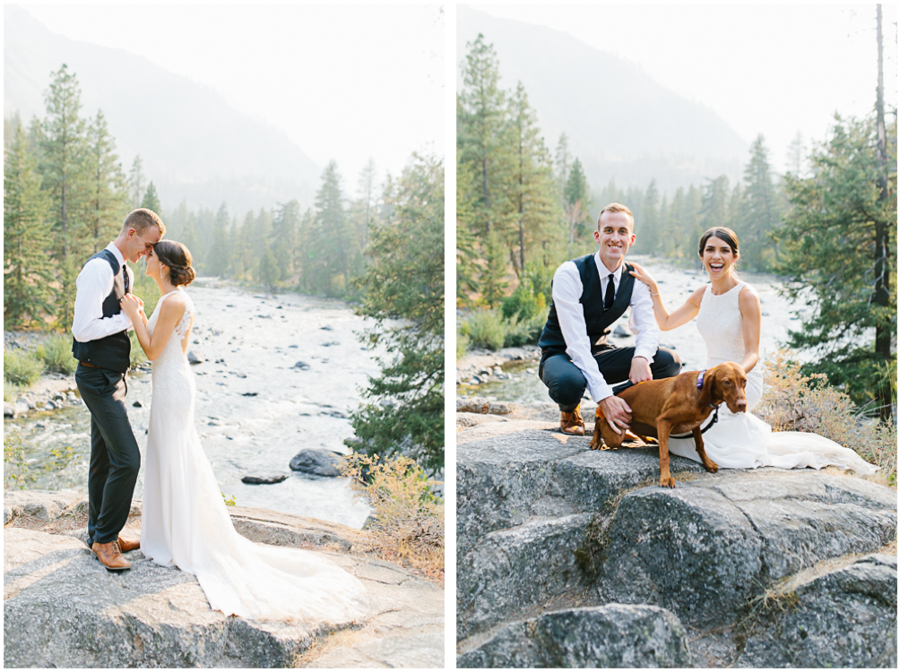 Grey and White Wedding in the Mountains of Leavenworth, Washington | Sleeping Lady | Classic and Timeless Wedding | VSCO | Bride and Groom Portraits on a Rock.jpg