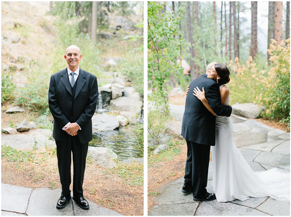 Grey and White Wedding in the Mountains of Leavenworth, Washington | Sleeping Lady | Classic and Timeless Wedding | VSCO | Father Daughter First Look Photo.jpg
