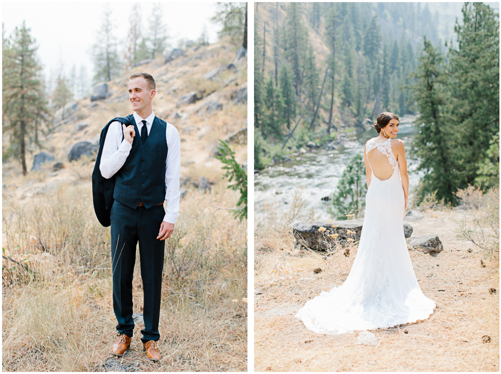 Grey and White Wedding in the Mountains of Leavenworth, Washington | Sleeping Lady | Classic and Timeless Wedding | VSCO | First Look in Leavenworth Washington on a Mountain.jpg