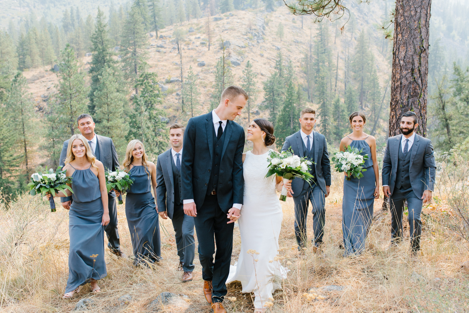 Grey and White Wedding in the Mountains of Leavenworth, Washington | Sleeping Lady | Classic and Timeless Wedding | VSCO | Bridal Party Portraits on a Mountain.jpg-2690.jpg