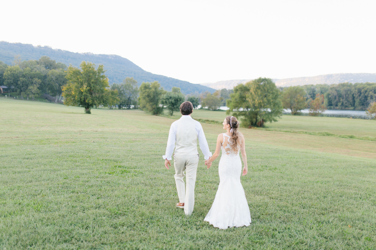 Southern Wedding | Bride and Groom Sunset Portraits by the River | Green field sunset portraits |Tennessee River Place Wedding Chattanooga TN | Emma Rose Company | Wedding in the South | VSCO | Southern Bride-1.jpg